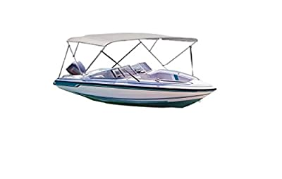"iCOVER Water Proof Three/Four bow Bimini Top Canopy fits boats with Beam Width of 61"" to 98"",Gray Color."