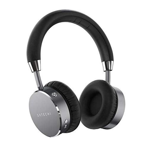 Satechi Aluminum Bluetooth Wireless Headphones with Enhanced Bass 3.5mm Audio-Out Jack - Compatible with iPhone Xs Max/XS/XR/X, 8 Plus/8, 2018 iPad Pro, Microsoft Surface Go and More (Space Gray)