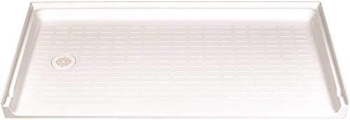 Left Drain 30 (El Mustee 360L Caregiver Fiberglass Rectangular Barrier-Free Shower Floor, Left Hand Drain Location, White, 30 X 60