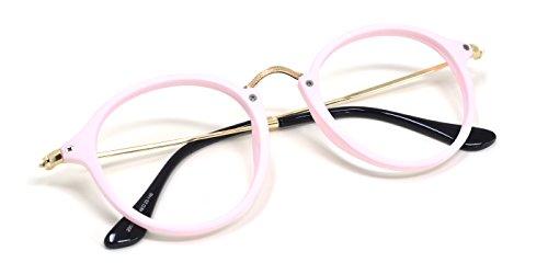 TIJN Vintage Round Prescription Eyewear Eyeglasses Frame with Clear Lenses for Women