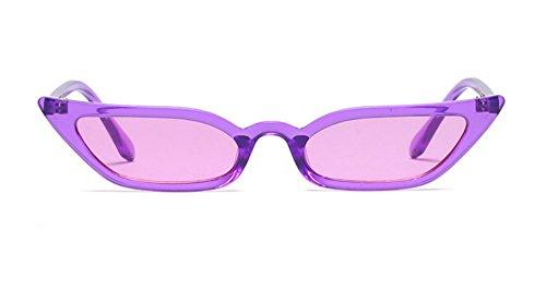 Semi Cateye Sunglasses Thin Narrow Skinny Small Pointed Clear Frame Trendy Chic (Purple, -