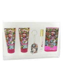 Ed Hardy Hearts & Daggers by Ed Hardy Gift Set -- 3.4 oz Eau De Parfum Spray + 3 oz Body Lotion + 3 oz Shower Gel + .34 oz Mini EDP + Key Chain (Women) ()