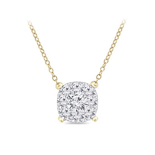Diamond Wish 14k Yellow Gold Pave Cluster Diamond Necklace (1/4 cttw, O.White, I2-I3) Cushion Shape, 16 to 18