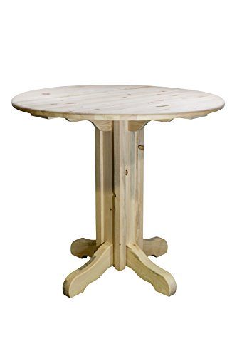 Montana Woodworks Homestead Collection Pub Table with Round Table Top, Clear Lacquer - Pub Table Natural Finish Collection