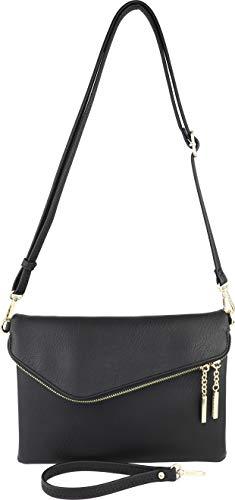 B BRENTANO Fold-Over Envelope Wristlet Clutch Crossbody Bag (Black.)