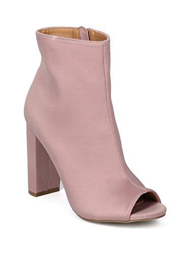 (Alrisco Women Satin Peep Toe Block Heel Bootie HF05 - Mauve Satin (Size: 7.0))
