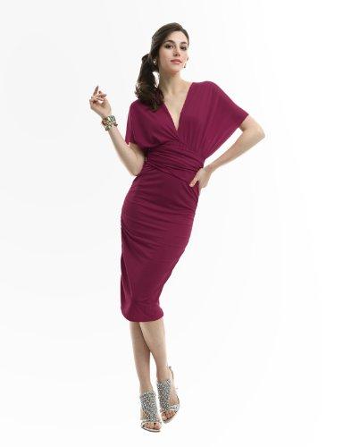 [Doublju Women V Neck Basic Design Loose fit Dress WINE,XL] (Maternity Fancy Dress Uk)