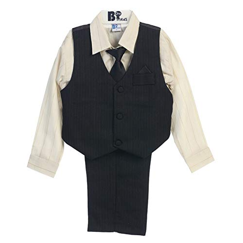 B-One Four Piece Gold Striped Off White Shirt Black Toddler Boys Vest Set 2T-3T