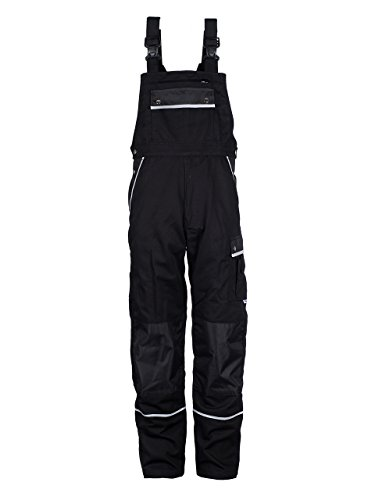 TMG Heavy Duty Work Bib and Brace Overalls Dungarees With Knee Pads Pockets Black 106 (Overall Protection)
