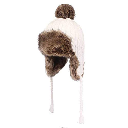 (CHENGGUO Ladies Knit Hat, Artificial Fur Catcher Cap, Winter Windproof Cold Hat Earmuffs, Suitable for Head Circumference: 21.6in-23.2in (Color :)