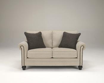 Milari Collection 1300035 66'''' Loveseat with Fabric Upholstery Nail Head Accents Rolled Arms and Casual Style in Linen