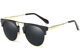 Joopin Semi Rimless Polarized Sunglasses Women Men Retro Brand Sun Glasses (Black (No Case Included), as the pictures)