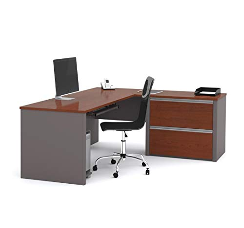 Bestar Connexion L-Shaped Workstation with Two Oversized Pedestals, Bordeaux/Slate