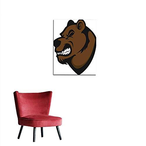 longbuyer Wall Picture Decoration Bear Head Mascot Mural 24