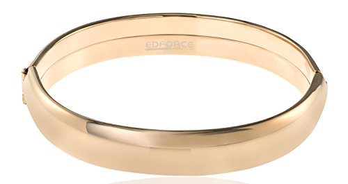 - Edforce Stainless Steel Women's Stackable Bangle Bracelet Wide Round Oval Hinged Slip-On (Rose Gold)