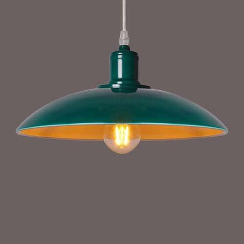 BAYCHEER Lámpara de techo, estilo industrial, Altura Regulable, Diámetro de 32 cm, Retro, paraguas, pantalla, multicolor, verde, E27, 40.00 wattsW, ...