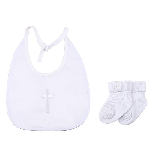 Delebao Infant Baby Boy's Girl's Christening Baptism Embroidered Cross Bib And Socks (One Size, Bib B+Socks A) by Delebao (Image #3)