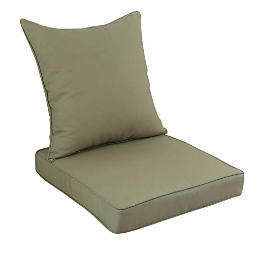 Indoor Fabric Seat Cushions - Rattaner Deep Seat Chair Cushions Set - Indoor/Outdoor Replacement Cushions for Patio Furniture with Waterproof Fabric, Olive Green