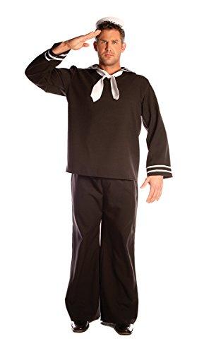 Underwraps Men's Plus-Size Sailor, Black, (Plus Size Sailor Costume)