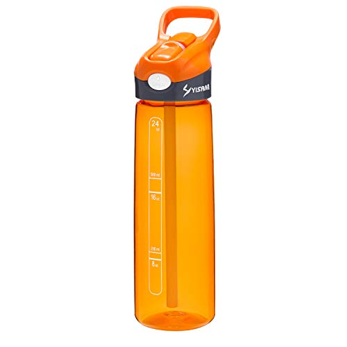 Yisam Sports Water Bottle with Straw, 24oz BPA Free Tritan Plastic with Volume Marker, Flip Nozzle, Non-Leak, Non-Toxic, for Adults & Kids Outdoors Camping Hiking Cycling - Orange