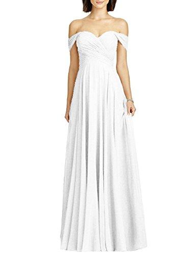 off shoulder chiffon bridesmaid dress - 1