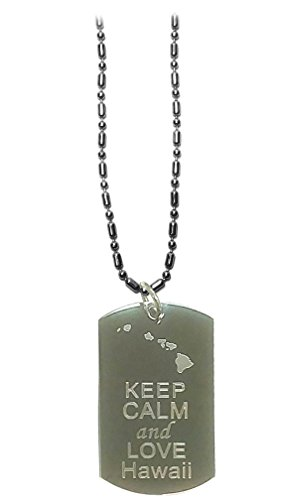 Keep Calm and Love Hawaii State Logo - Military Dog Tag, Luggage Tag Metal Chain Necklace