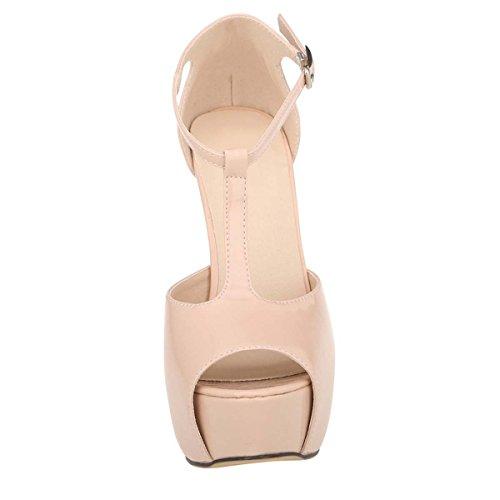 HooH Women's Peep Toe T-Straps Chunky Dress Sandal Nude mVzDi