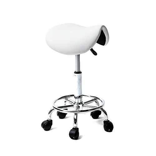 Teeker Rolling Saddle Stool PU Leather Swivel Adjustable Rolling Stool for Medical Massage Salon Kitchen Spa Drafting,Adjustable Stool with Wheels (White)