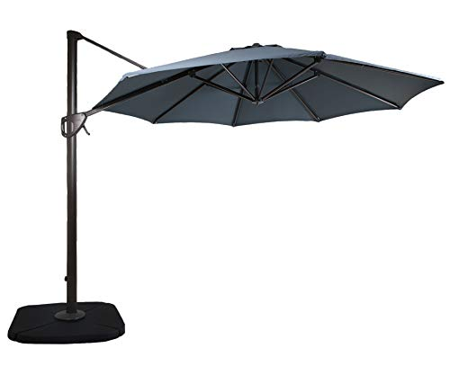 DOMI OUTDOOR LIVING 11-Feet Aluminum Cantilever Umbrella Outdooor Patio Tilt & Crank Round Umbrella...