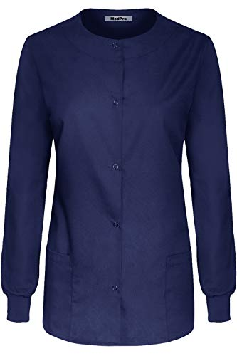 MedPro Women's Medical Scrub Button Down Jacket w/Patch Pocket Navy - Advantage Soft Jacket