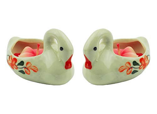 Tom Barrington Tea Light Candles in Ceramic Hand Painted Swan Tea Light Candle Holders, Reuseable, Pack of 2 (Light 2 Barrington)