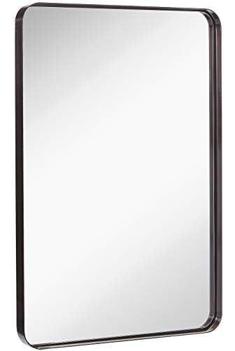 Hamilton Hills Contemporary Brushed Metal Wall Mirror | Glass Panel Black Framed - Vanity Mirrors Bathroom For 36
