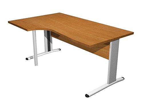 Ideapiu Scrivania Piano Sagomato in Finitura Grigio con Struttura Metallica Piano Sagomato Lato SX Desk with Panel Legs 1600 x 800 x 720h Sp. Thick. 22