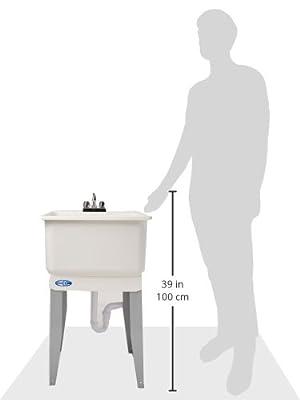 "El Mustee 14CP Utilatub 20 gal Floor-Mount Combo Laundry/Utility Tub, 33 X 23 X 25"", White, 15.5"" x 25.2"" x 23.5"""