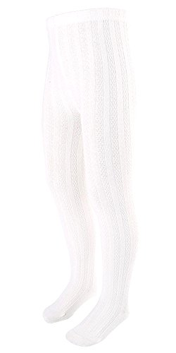 EachWell Girls Kids Fall Winter Cotton Stretch Cable Knit Footed Tight Leggings White,US M(10-12)=Asian Tag (Snow White Outfit Ideas)