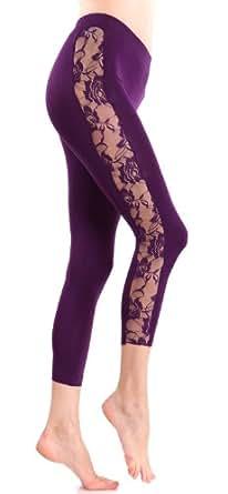 Ladies Purple Leggings Sheer Floral Designed Sides at ...