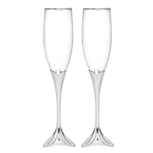 Hortense B. Hewitt Champagne Toasting Flutes Wedding Accessories, Flower Petal, Set of 2