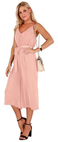 Longwu Women's Casual V-Neck Spaghetti Strap Sleeveless Wide Leg Jumpsuit Rompers with Belt Pink-M (Linen Belt Silk)