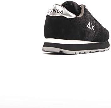 SUN68 Sneaker Running Ally Thin Glitter in Pelle Scamosciata/Tessuto Nero Scuro Donna D21SU06