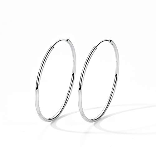 T400 925 Sterling Silver Hoop Earrings Large and Small Thin Lightweight Hoops ♥ Birthday Gift for Women 25 35 40 45 50 55 60 65 ()