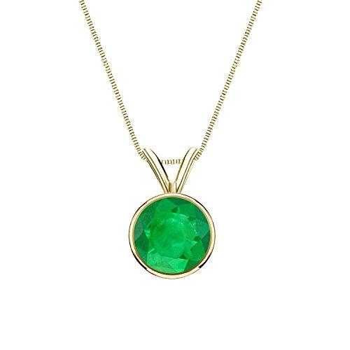 14K Yellow Gold Bezel Basket Green Emerald Gemstone Solitare Pendant Necklace (1 cttw) 18