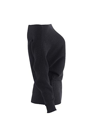 Simplee mujeres casual de un hombro fuera de murcielago sueter manga larga jersey de punto jersey Negro