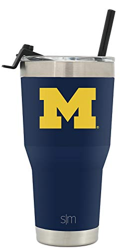 (Simple Modern University of Michigan 30oz Cruiser Tumbler with Straw & Flip Lid - Vacuum Insulated Stainless Steel Travel Mug - Tailgating Cup College Flask)