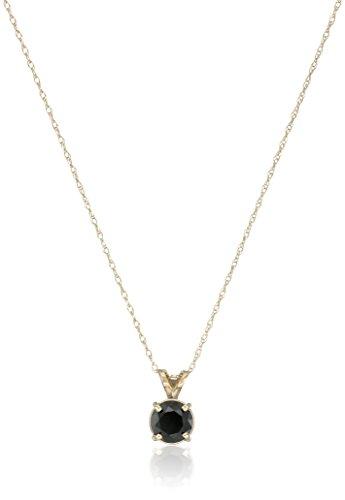 14k Yellow Gold Black Diamond Solitaire Pendant (1 cttw)