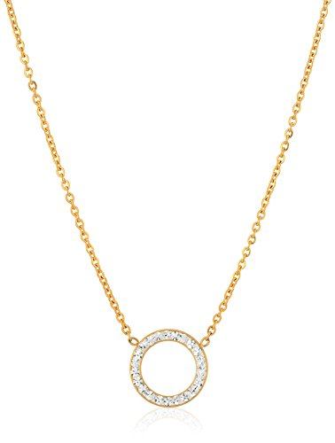 White Crystal Circle Necklace - ELYA Jewelry Womens Stainless Steel Crystal Open Circle Pendant Necklace, Gold/White, One Size