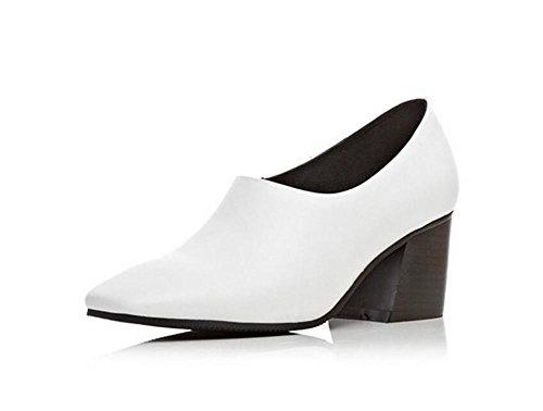 Chaussures à talons hauts en cuir à bas talons , white , 37