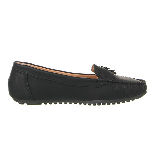Ital-Design Damen Schuhe, B807-BL, Mokassins Schwarz