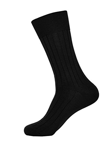 - L.Martin Women's Mercerized Cotton Casual Crew Dress Socks Men 1Pair Black 9-10