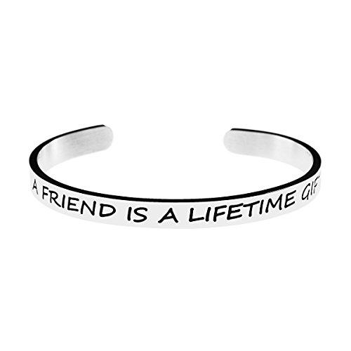 (Joycuff Friendship Cuff Bracelet for Friends Silve Stainless Steel Bangle Jewelry High Polished Shine Jewelry (A Friend is a Lifetime Gift))