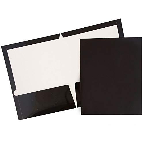 JAM PAPER Laminated Two Pocket Glossy Folders - Black - Bulk 25/Pack